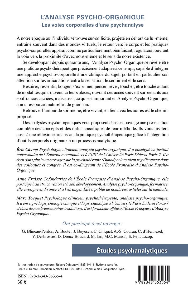 Analyse Psycho-Organique - Psychanalyse - 4eme de couverture du livre