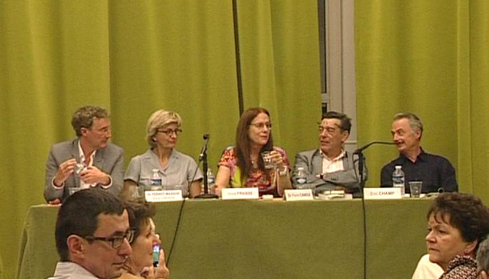 Marc TOCQUET, Catherine PERNOT-MASSON, Anne FRAISSE, Pierre CANOUI, Éric CHAMP, lors de la conférence du 4 Juin 2015